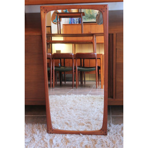 Sculptural Early Danish Modern Teak Mirror