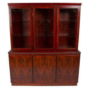 Lighted Rosewood 2-Piece Danish Modern Credenza w/ Glass Doors Display Top