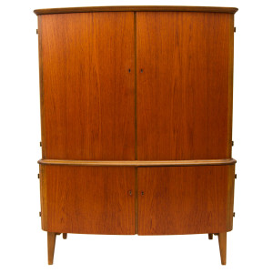 Rare Danish Modern Teak Locking Armoire / Bar Cabinet