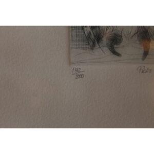 "Vintage ""Pel's Fishing Owl"" Pen & Ink 132/300"