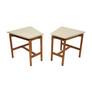 Pair of Heywood Wakefield Mid Century Modern Hexagonal Side Tables