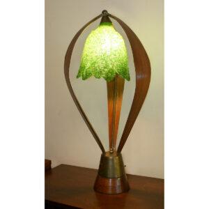 """Green """"Spaghetti"""" Shade Wooden Lamp"""