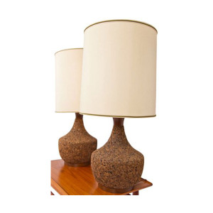 Pair of Cork Base Lamps