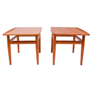 PAIR Grete Jalk Teak End/Accent Tables with Raised Lip Top Edge & Shelf