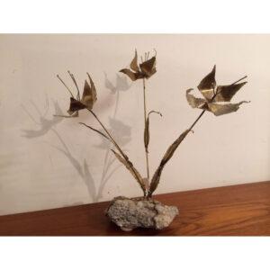 Mid Century Modern Metal Brass Tulip Sculpture