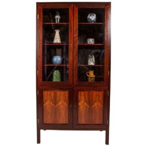 Danish Rosewood Locking Glass Door Display Cabinet by Bornholm, Denmark