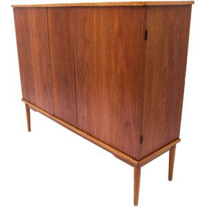 Tall Locking Danish Teak 2 Door Bar / Storage Cabinet / Armoire
