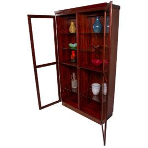 Lighted Danish Rosewood Display Cabinet w/ Glass Doors
