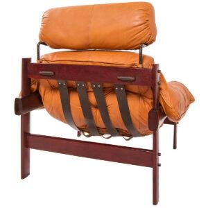 Rare Percival Lafer Brazilian Leather Chair w/ Headrest & Ottoman