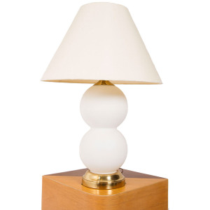 Two Sphere Frosted White Glass Lamp w/ Brass Base