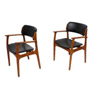 Pair of Designer Danish Modern Arm Chairs by Erik Buch