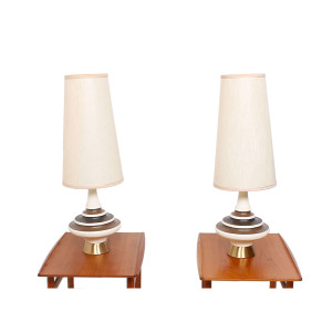 Groovy Pair of 'Genie' Lamps with 'Cone' Shades