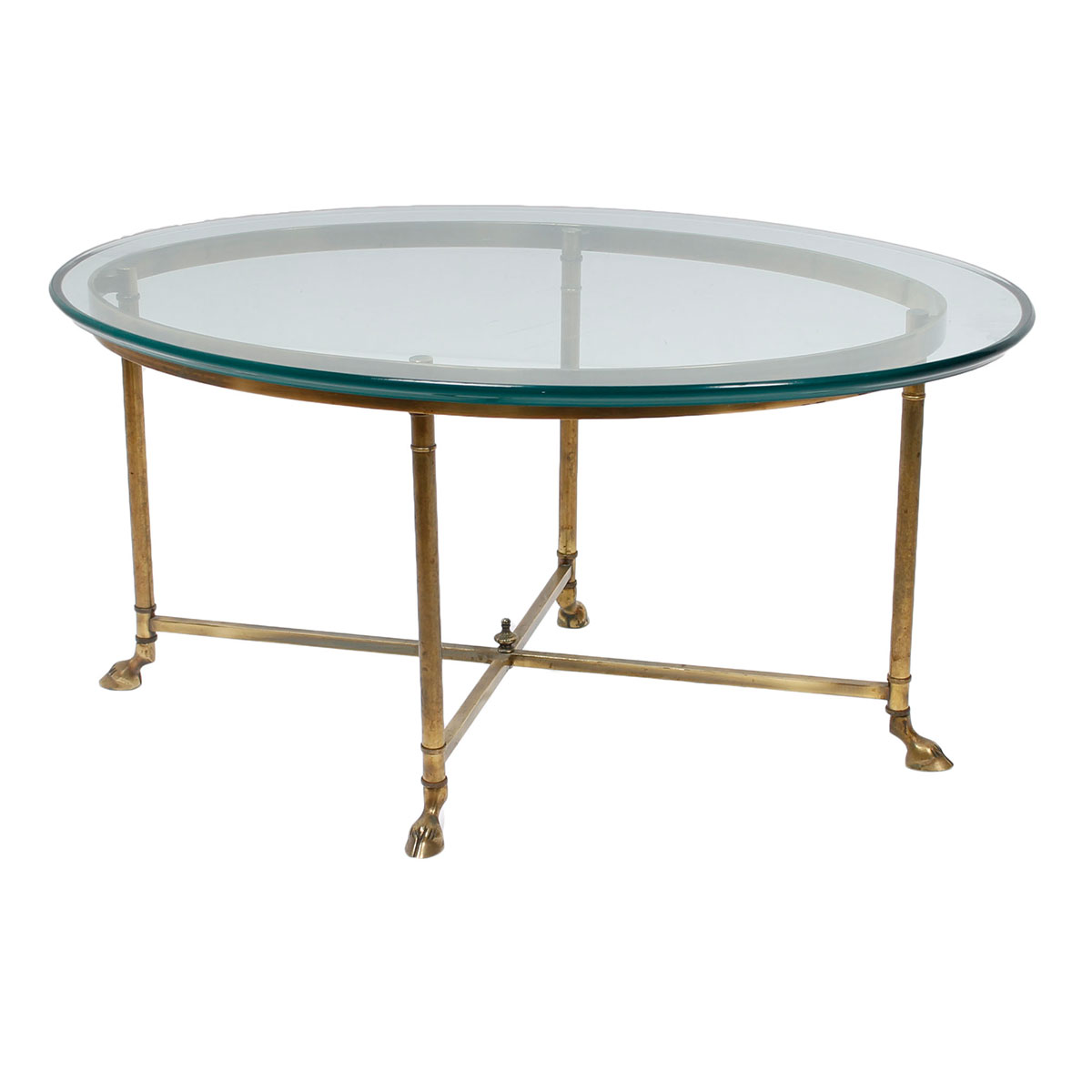 Small Labarge Brass Glass Coffee Table