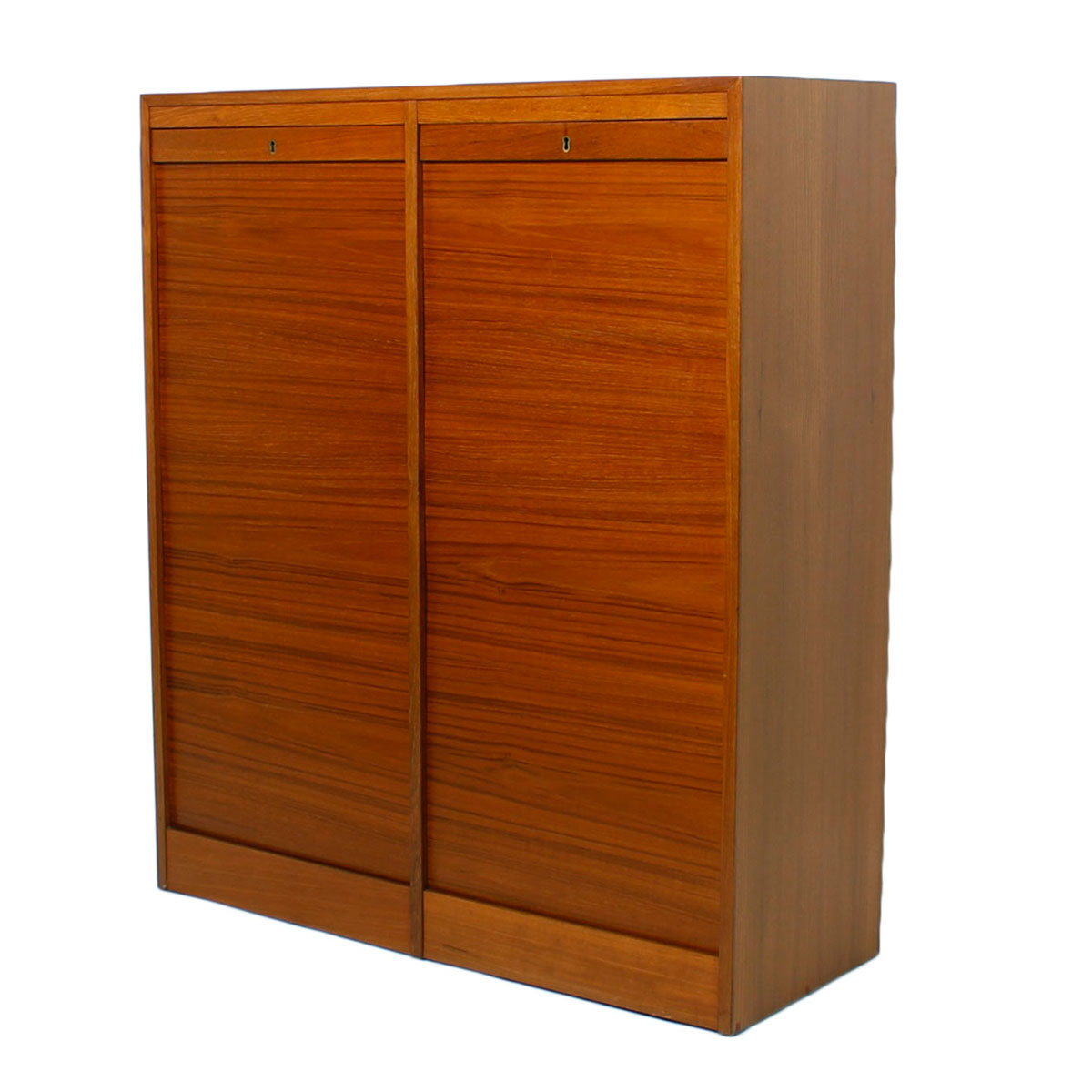 Tall Danish Teak Locking Double Tambour Door File Cabinet ...
