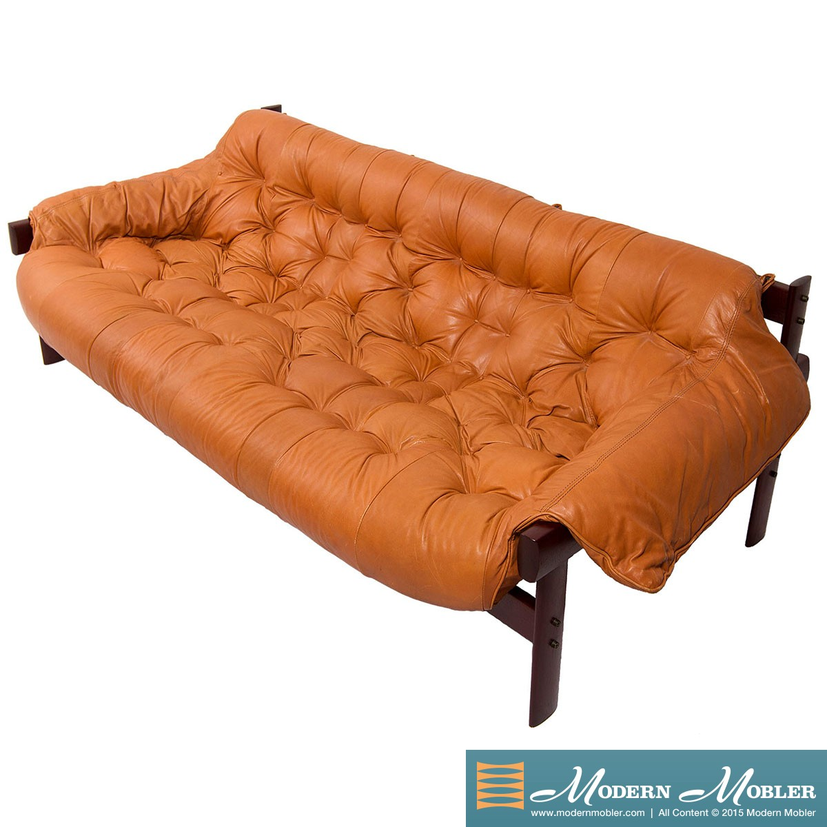 Percival Lafer Rosewood And Distressed Tufted Yellow: Percival Lafer Sofa Leather And Rosewood Percival Lafer
