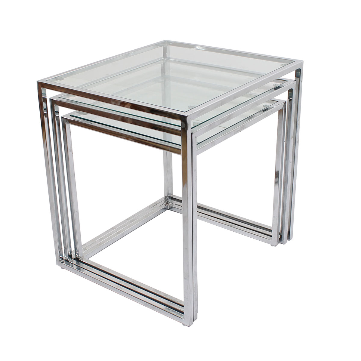 Modern mobler milo baughman glass chrome set of 3 nesting tables watchthetrailerfo