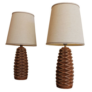 Pair of Mid-Century Modern Lamps w/ Lozenge Pattern