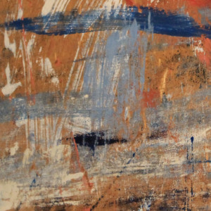 Modernist Red Abstract Oil Painting