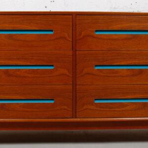 6 Deep Drawered Danish Modern Teak Dresser