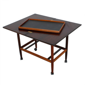 Expanding Danish Rosewood Bar Cart w/ Removable Serving Tray