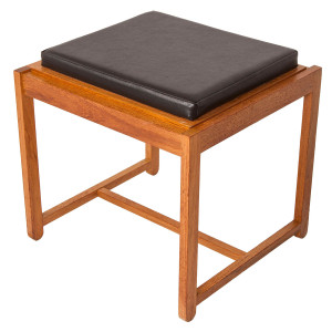 Danish Teak Reversible Accent Table – Stool with Black Cushion
