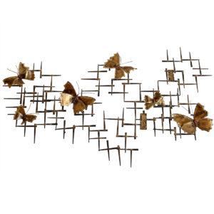 Metal Butterfly Gridded Wall Sculpture