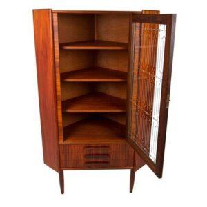 Petite Danish Rosewood 3-Drawer Corner Cabinet