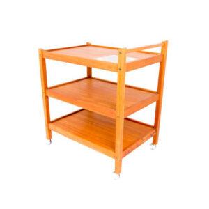 Danish Modern Teak Bar Cart w/ Hot Plate Tile Inlay
