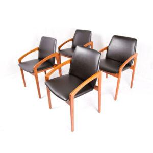 Kai Kristiansen Rare Set of 4 Teak Dining Chairs w / New Upholstery