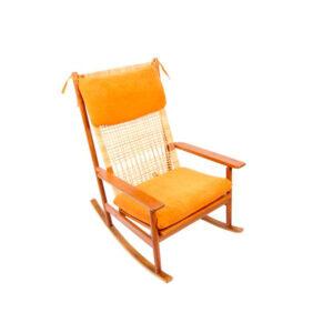 Rare Hans Olsen Teak Rocking Chair w/ New Upholstery
