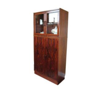 Beautiful Rosewood 2 Piece Display / Bar Cabinet