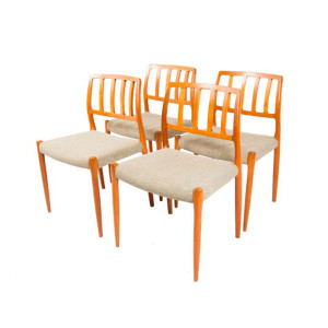 Set of 4 Designer Niels Møller Teak Dining Chairs