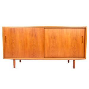 Condo Sized (54.5″) Danish Modern Teak Sideboard / Media Cabinet