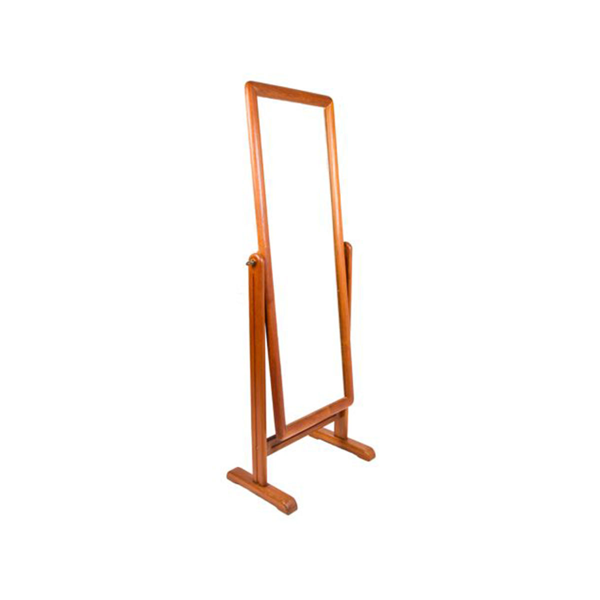Stylish Danish Modern Teak Cheval Floor Mirror
