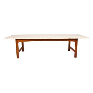 Dux Marble with Teak Base 'Surfboard' Coffee Table