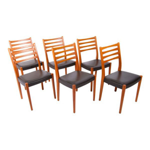 Set of 6 Danish Modern Teak Ladder Back Dining Chairs