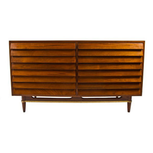 Compact American of Martinsville Walnut Slatted Front Dresser – Sideboard