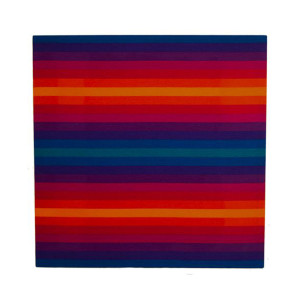 Vintage Large Rainbow Technicolor Striped Artwork