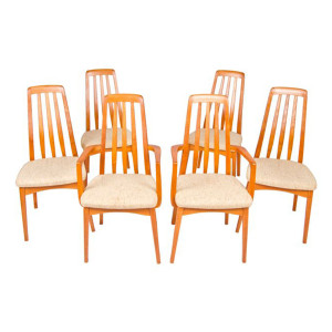 Set of 6 (2 Arm 4 Side) Danish Modern Teak Slatted-Back Dining Chairs