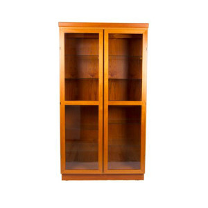 Lighted Danish Modern Teak Display / Curio w/ Adj Glass Shelves