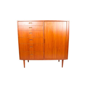 Falster Danish Modern Teak Tall Dresser / Chest with Tambour Door