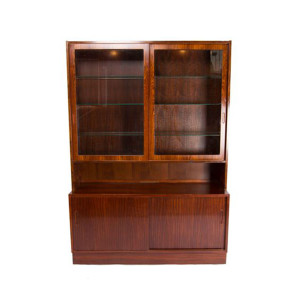 Lighted Danish Modern Rosewood 2-Piece Display / Storage Cabinet
