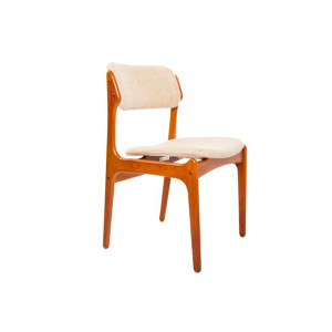 Set of 4 Designer Danish Modern Teak Upholstered Dining Chairs by Erik Buch