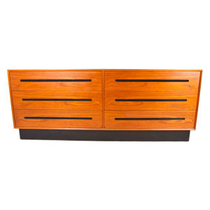 6 Drawer Danish Modern Teak Low and Wide Dresser by Westnofa of Norway