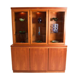 Lighted 2 Piece Danish Modern Teak Display Cabinet / Storage