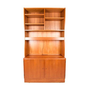 Compact 2-Piece Danish Teak (42.5″) Media / Lighted Display / Locking Storage Cabinet