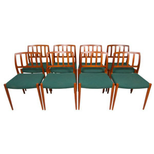Set of 8 Niels Møller #83 Danish Modern Teak Dining Chairs