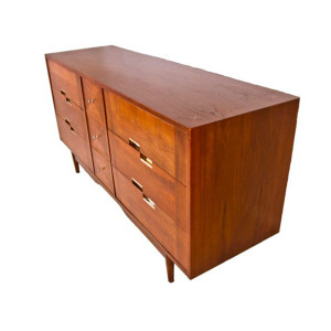 "1950s American of Martinsville MCM Walnut Dresser / Sideboard w/ Metal ""X"" Inlays"