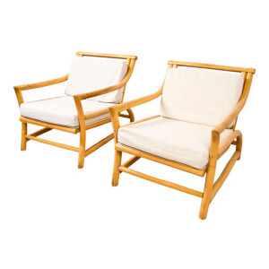 Pair of Decorator Bamboo Upholstered Lounge Chairs