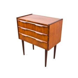 Mini Rosewood Danish Modern 3-Drawer Nightstand
